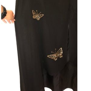 Black Evening Gown with Butterfly Detail